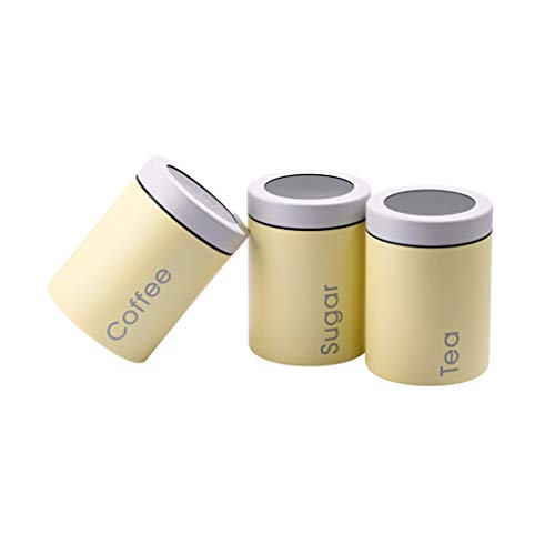 (Adzukio Modern Stylish Canisters Sets for Kitchen Counter, 3-piece canister for Tea Sugar Coffee Food Storage Container Multipurpose (Light Yellow))