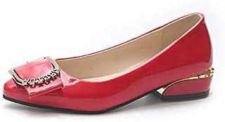 Yukun Talons hauts Bouche Peu Profonde Chaussures Simples de Grande Taille Femme Chaussures Toute l'année Basse avec la Bouche Peu Profonde avec la Peau Brillante