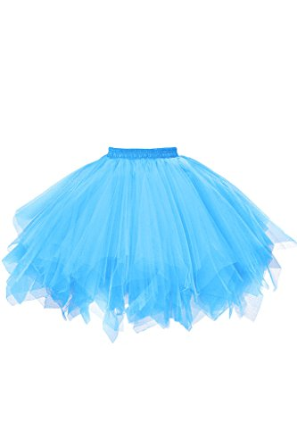 Musever 1950s Vintage Ballet Bubble Skirt Tulle Petticoat Puffy Tutu Blue Large/X-Large -