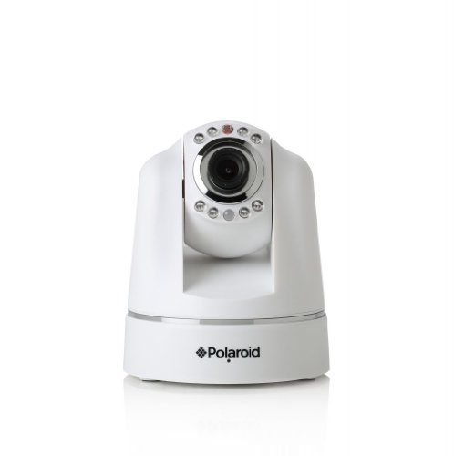 Polaroid IP200W Wireless Network Surveillance Indoor IP Camera with Remote Control Pan/Tilt and Audio/Video Recording - White