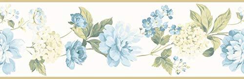 (Wallpaper Border Designer Light Blue Peony Floral Vine Gold)