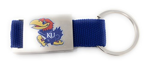Nickanny's University of Kansas Collegiate Key Chain with Blue Fabric and KU Logo for Jayhawk -