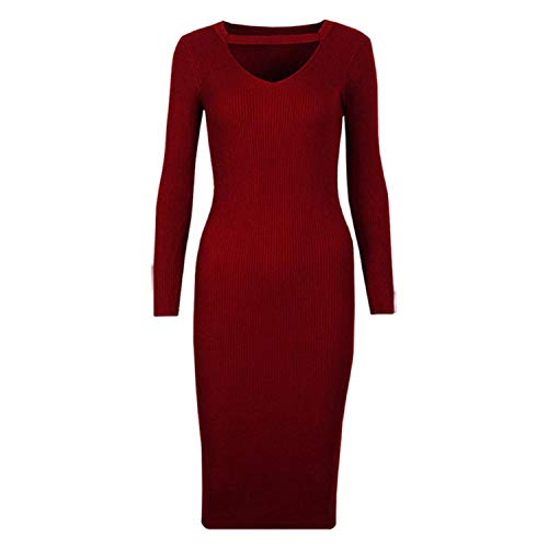 Women Sweater Dress Winter Long Sexy Bodycon Dresses Elastic Striped Skinny Knitted Dress,Burgundy,S (Pod Dining Table)