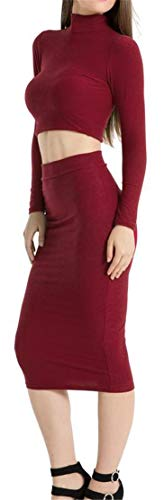 Bodycon Crop Sleeve Claret Dresses Piece Women's Long Sexy 2 High Neck Cromoncent P8zwxp