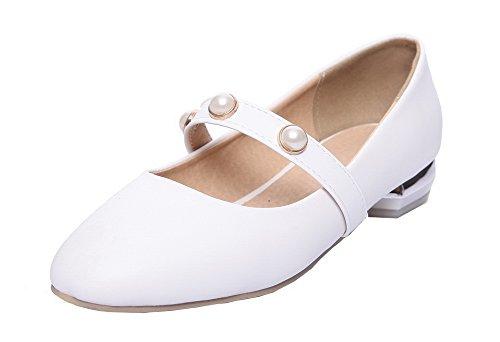 Allhqfashion Donna Solido Materiale Morbido Tacco Basso Tacco Chiuso Scarpe-scarpe Con Cinturino-scarpe Bianche
