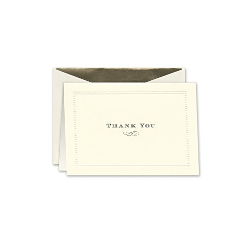 William Arthur Embossed Beaded Border Thank You Note, Ecru (B60840)