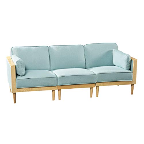 Christopher Knight Home 306598 Tegan Sectional Sofa Set 3-Piece Deep Seating, Piped Cushions Contemporary Mid-Century Modern Modular Configurable Sky Blue with Natural Finish,