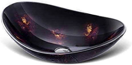 洗面ボウル 現代のラウンドカウンター強化ガラスシンク付きの蛇口&ソリッドブラスポップアップドレインセット 浴室の台所の流し (Color : Black, Size : 54x36x16cm)