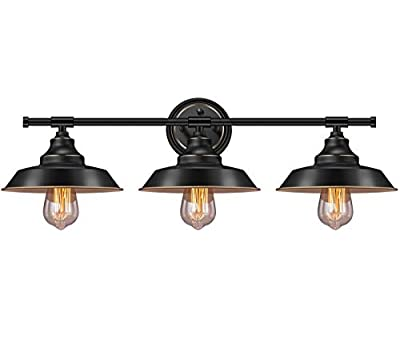 Farmhouse Rustic Style Vintage 3-Lights Vanity Wall Sconce Lighting, Elibbren E26 Base Metal Matte Black Industrial Bathroom Wall Light Fixture for Bathroom Vanity Mirror Cabinets Dressing Table
