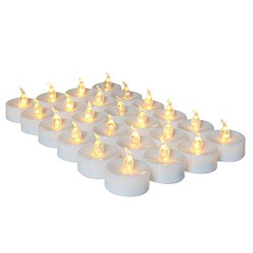 24 pcs Led Tea Lights with Timer Flickering Flameless Candle Warm White Light Electric Fake Flame Candles for Christmas, Thanksgiving, Wedding, Festival, Party Home Decorations