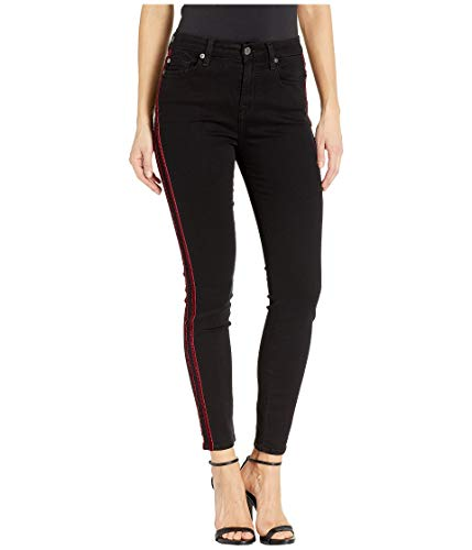 7 For All Mankind b(air) High-Waisted Ankle Skinny with Double Burgundy Velvet Stripes in Black B(Air) Black Velvet Stripe 29