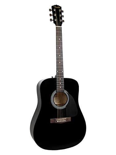 Fender FA-100 Dreadnought Acoustic Guitar - Black Bundle with Gig Bag, Tuner, Strings, Strap, and Picks - Image 2
