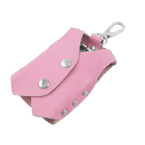 Pink Clothes Shape Faux Leather Cover Keychain Keyring Holder Bag Case