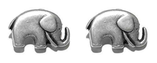 Silver Tone Pewter Elephant Stud Earrings