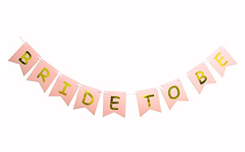 Vegas Invite - Bride To Be Banner Gold Foiled For Wedding Sign Bridal Shower Banner Hen Night Bunting (Pink)