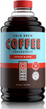 Kohana Cold Brew Coffee Concentrate, Conventional, House Blend, 32 Ounce, Best Zero Calorie Low Acid Iced Coffee, Instant, Convenient and On The Go, Makes 16 Drinks, Single Bottle