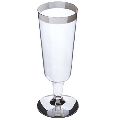 BalsaCircle 33 pcs 6 oz Clear with Silver Rim Plastic Champagne Flutes - Disposable Wedding Party Catering Tableware