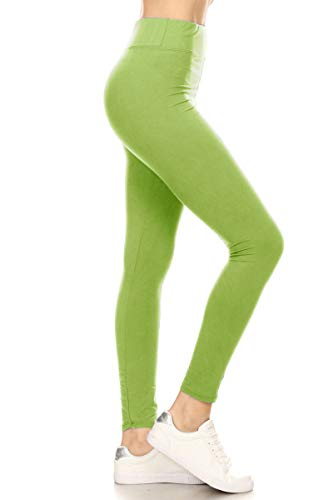 LYR128-LIME Yoga Solid Leggings, One Size]()