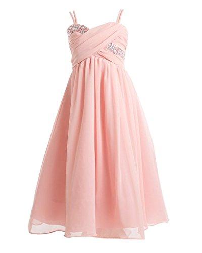 iGirlDress Big Girls Ruched Top Chiffon Long Flower Girls Dresses 8 (Ruched Shawl)