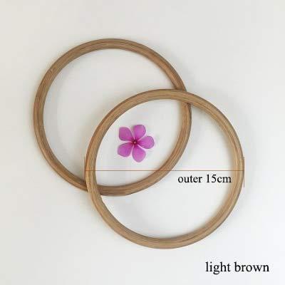 DalaB 1pair=2pcs DalaB 12cm,13cm,15cm,19cm Bamboo Ring Handle Wood Round Bag Handle Purse Frame DIY Handbag Accessories - (Color: 15cm Light Brown)