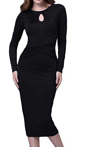 Ras Du Cou De Couleur Unie Style Féminin Domple Coupé Robe Midi Fête Slim Fit Noir
