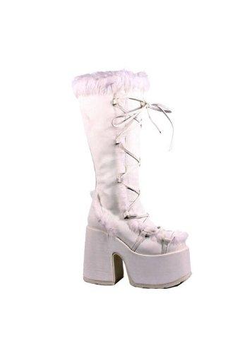 Pleaser Women's Camel-311/W/PU Knee-High Boot,White Polyurethane,8 M US