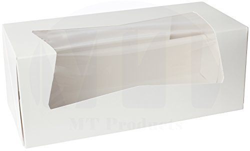"Beautiful White Paperboard Pastry, Bakery Box Keep Donuts, Muffins, Cookies Safe - Unique Auto-Pop Up Feature and Clear Window for Visibility 9"" Length x 4"" Width x 3 1/2"" (10 Pieces)"