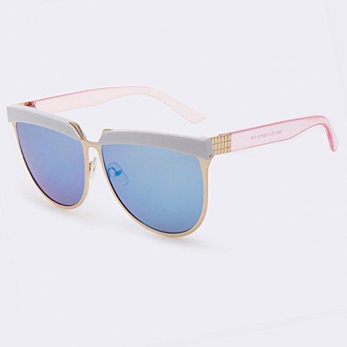 mujer sombras C05 de espejo de Gafas gafas metal C01 de plana TIANLIANG04 Gold Blue Vintage gafas mujer sol sol superior Zxt6Uww4n