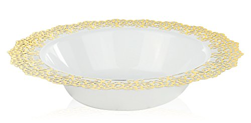Elegant Disposable Plastic Dinnerware - White Soup/Salad Bowl with Gold Lace Trim - Hard & Reusable, Real China Look Party Plates - 7.5
