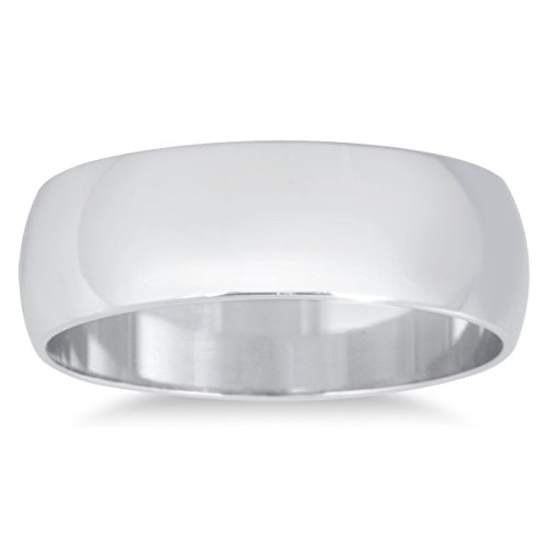 6mm Domed Wedding Band in 10K White Gold ()