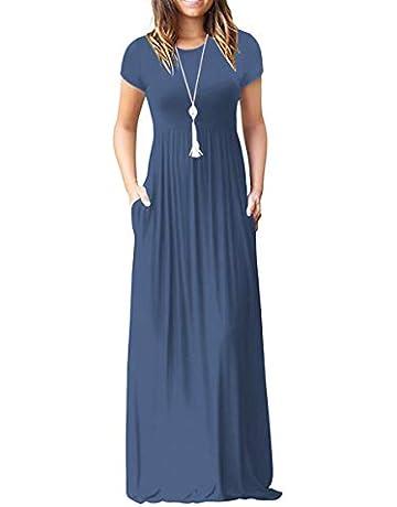 a7b502b370 HAOMEILI Women's Casual Long/Short Sleeve Maxi Dress with Pockets