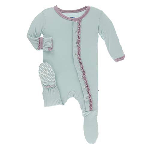 - Kickee Pants Little Girls Solid Muffin Ruffle Footie with Snaps - Spring Sky with Sweet Pea, 0-3 Months