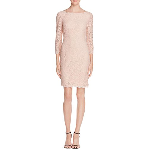Adrianna Papell Womens Petites Lace 3/4 Sleeve Cocktail Dress Pink 4P by Adrianna Papell