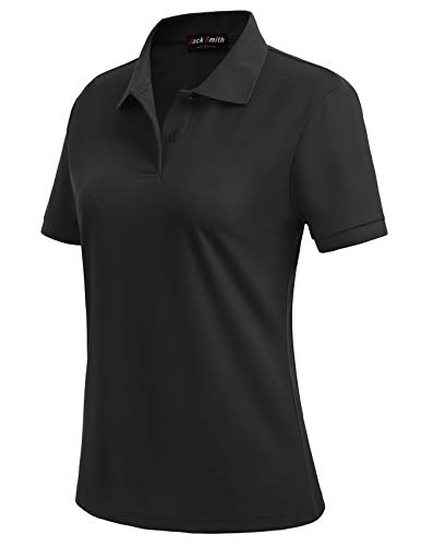 JACK SMITH Ladies Moisture Wicking Solid Color Golf Polos Shirt (M,Black#18)