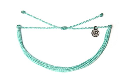 Pura Vida Solid Seafoam Bracelet - Handcrafted with Iron-Coated Copper Charm - Wax-Coated, 100% Waterproof