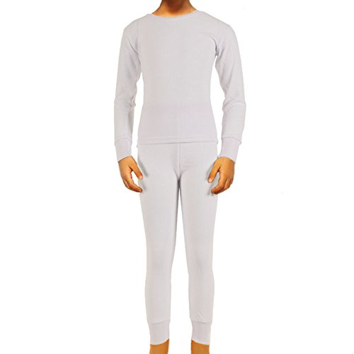 SLM Therma Tek Boy's 100% Cotton Thermal Underwear Two Piece Set-Small-White Mine Arm Warmers
