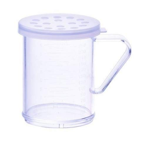 Winco PDG-10CXL, 10 Oz Plastic Dredge with Clear Snap-on Lid, Seasoning Sugar Spice Pepper Shaker with Extra Large Holes