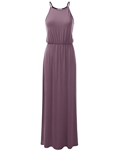 Drawstring Sleeveless Halter Dress (Doublju Stretchy Side Slit Halter Neck Maxi Dress For Women With Plus Size (Made In USA) Purplish Small)