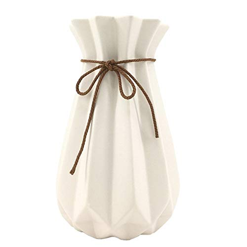 WEIDILIDU White Ceramic Vase Modern Home Decoration Porcelain Vase Flower Vase Origami Design (weidilidu-G4) (Porcelain Flower Vase)