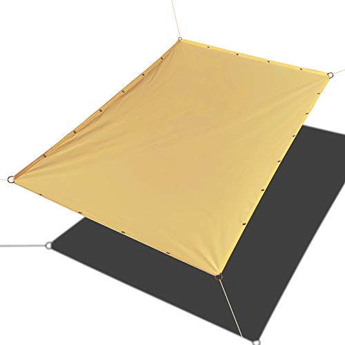 Alion Home Custom Sizes Straight Edge PU Waterproof Woven Sun Shade Sail for Car Tent, Carport, Canopy, Patio, Awning, Window, Pergola, Gazebo and RV 9.5 x 10 , Sand