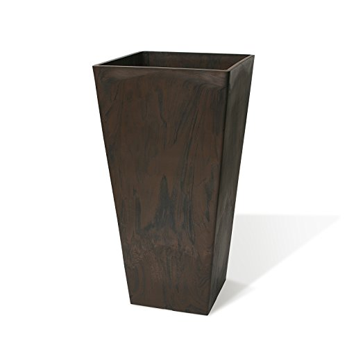 Algreen Valencia Square Planter, 16.25'' x 32-Inch Height, Brown Marble by Algreen