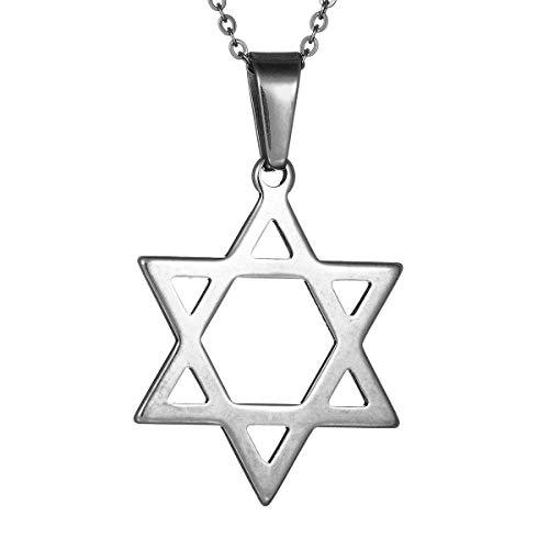 (YuRocker Stainless Steel Star of David Pendant Necklace Charm for Women Men, Unisex, 20