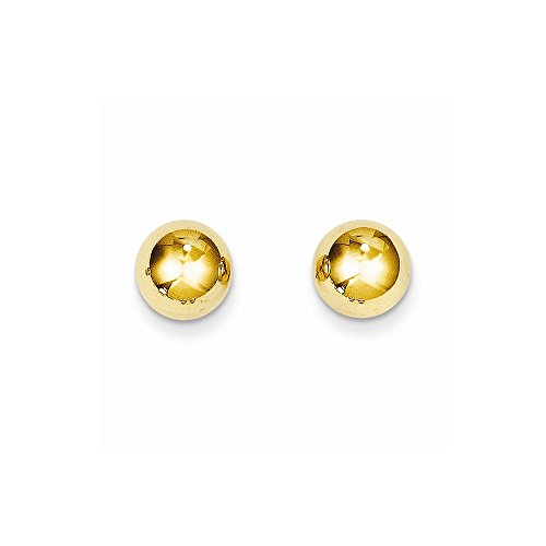14K Yellow Gold Polished 8mm Ball Post Earrings (8x8mm) by Unknown