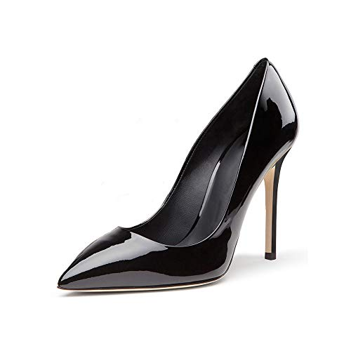 Bout Étanche Soirée Chaussures Chaussures Fermé Cuir Femmes Simples Forme Plate Mariage Simples Mariée De Robe Stiletto Pointé Brillant Black 5qgAzR