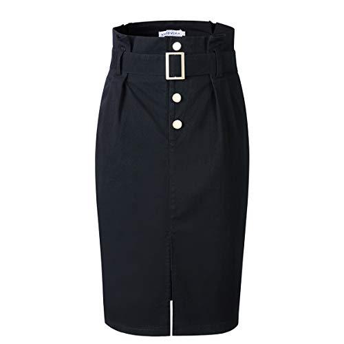 VKOOVIFA Women's High Waist Bodycon Pleated Button Up Knee Length Midi Pencil Skirt with Belt Black Medium. ()