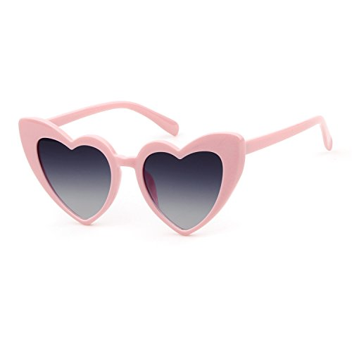 BOLD Retro Heart MOD Thick Frame Clout Goggles Cat Eye Lens Sunglasses (Grey lense Pink frame, 50)