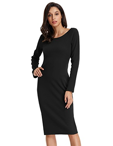 Womens Slim Fitted Scoop neck Knit Sweater Dress Black L KK819-1 (Neck Dress Knit Scoop Sweater)