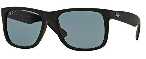 b19d56a9c8 RB Justin Sunglasses (55 mm Matte Black Frame Polarized Blue Lens ...