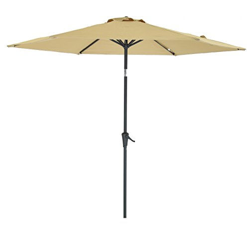 Patio Watcher 9-ft Patio Umbrella Market Table Umbrella with Push Button Tilt and Crank Outdoor Umbrella with 6 Ribs, Beige