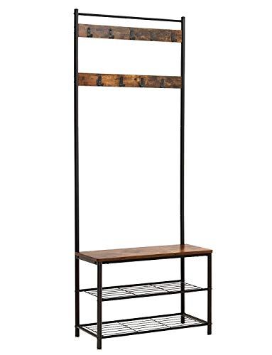 VASAGLE Industrial Coat Rack, Hall Tree Entryway Shoe Bench, Storage Shelf Organizer, Accent Furniture with Metal Frame , Rustic Brown (Hallway Bench Organizer)
